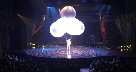 "Ginormous balloons are part of an act that has to be seen to be believed at ""Corteo"", the latest show by Cirque du Soleil, at Agganis Arena through June 30, 2019."